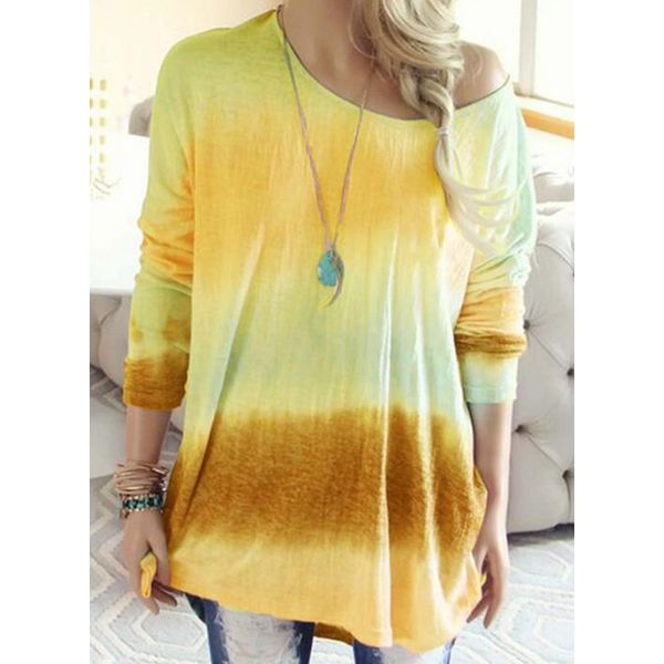 Color Block Casual Round Neckline Long Sleeve Blouses (1645465180, Blue;green;pink;yellow