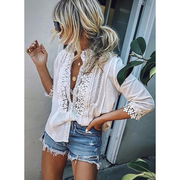 Airycloth coupon: Solid 3/4 Sleeves Blouses (1645395401)