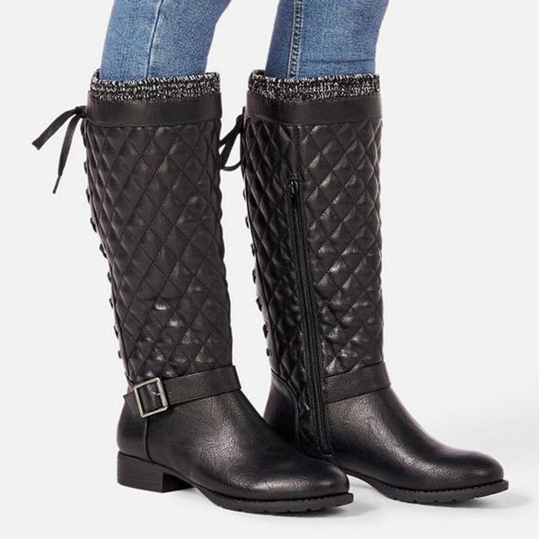 Women's Buckle Zipper Lace-up Knee High Boots Low Heel Boots (1625491565, Black;off-white