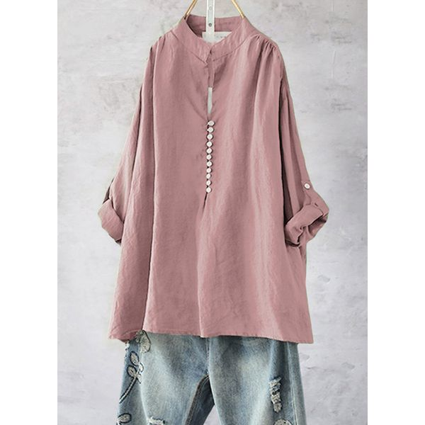Solid Casual Round Neckline 3/4 Sleeves, Blouses (1645442085, Green;khaki;pink;red;white;dark blue