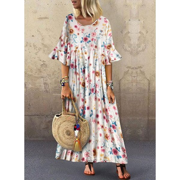 FloryDay / Casual Floral Round Neckline Maxi A-line Dress (1955398732)