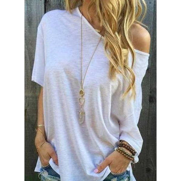 Airycloth coupon: Solid Oblique Neckline Short Sleeve Casual T-shirts (1685607497)