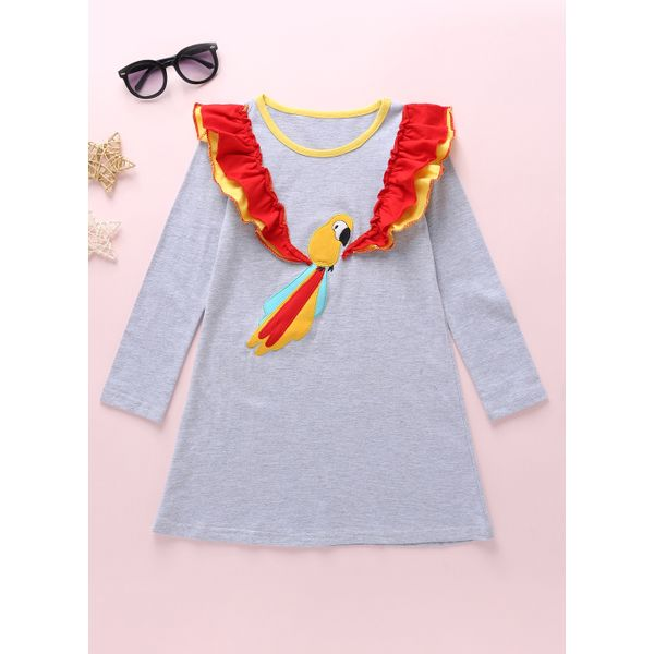 Girls' Cute Animal Going Out Long Sleeve Dresses (30135436281, Gray