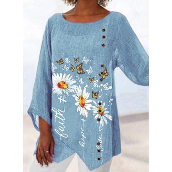FloryDay / Floral Casual Round Neckline 3/4 Sleeves Blouses (1645721633)