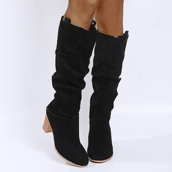 FloryDay / Women's Knee High Boots Closed Toe Cloth Chunky Heel Boots (1625663111)