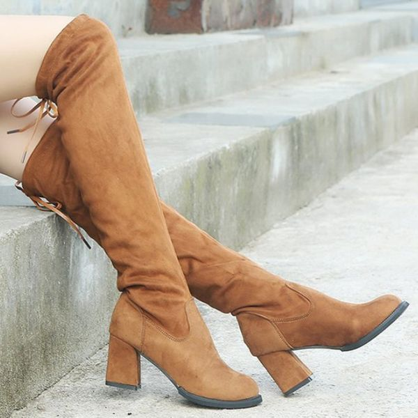 FloryDay / Women's Lace-up Knee High Boots Closed Toe Cloth Chunky Heel Boots (1625650300)