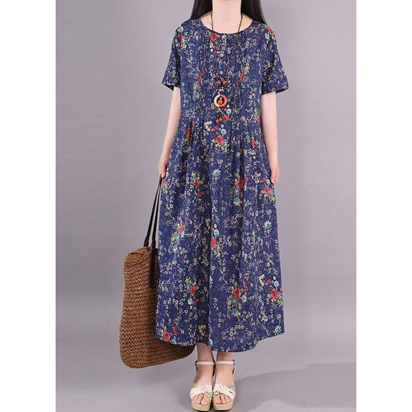 Casual Floral Tunic Round Neckline Shift Dress (1955587209, Dark blue;serpentine