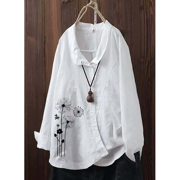 Airycloth coupon: Floral Casual Collar Long Sleeve Blouses (1645491513)