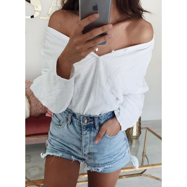 Solid Sexy Off the Shoulder Long Sleeve Blouses (1645381025, White