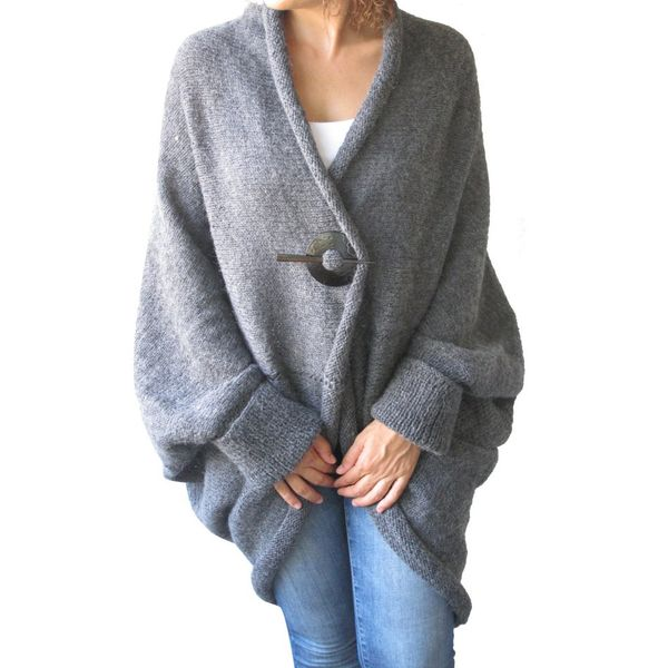 V-Neckline Solid Bat Shirt Loose Long Buttons Shift, Sweaters (1675442358, Gray