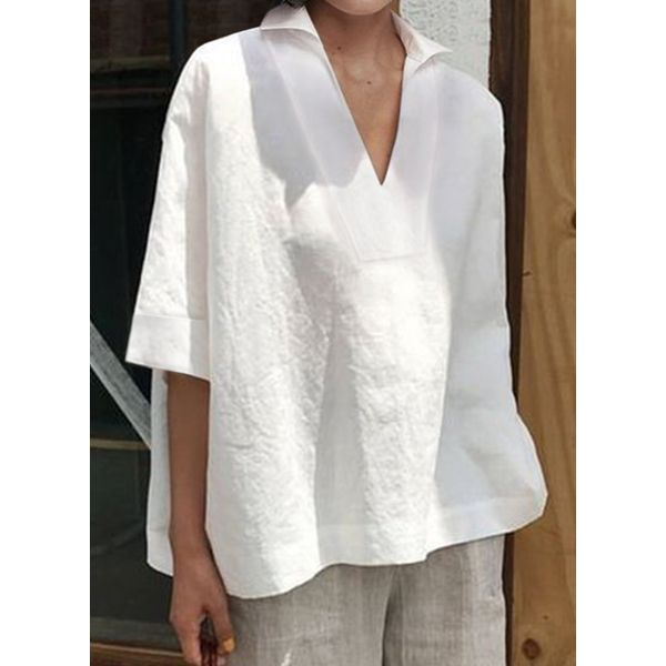 FloryDay / Plus Size Solid Collar Casual A-line Blouses 3/4 Sleeves Plus Blouses (30355588842)