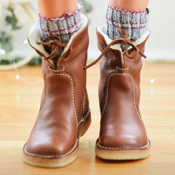 Women's Lace-up Ankle Boots Flats Flat Heel Boots (1625470412, Brown