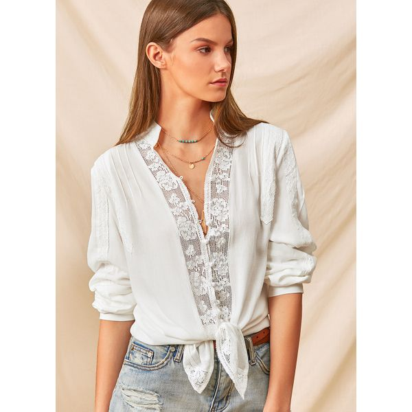 Airycloth coupon: Solid Sexy V-Neckline Long Sleeve Blouses (1645423931)