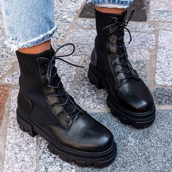 FloryDay / Women's Lace-up Split Joint Mid-Calf Boots Closed Toe Round Toe Fabric Leatherette Wedge Heel Boots