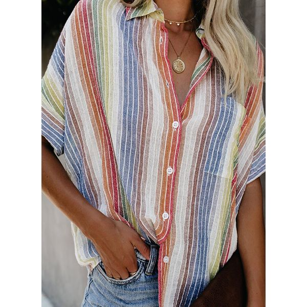 Color Block Casual Collar Half Sleeve Blouses (1645475662, White