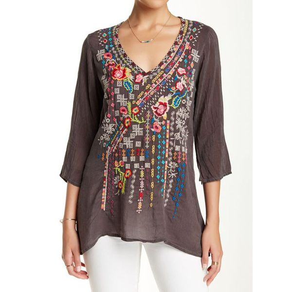 Airycloth coupon: Floral Casual V-Neckline 3/4 Sleeves Blouses (1645543323)