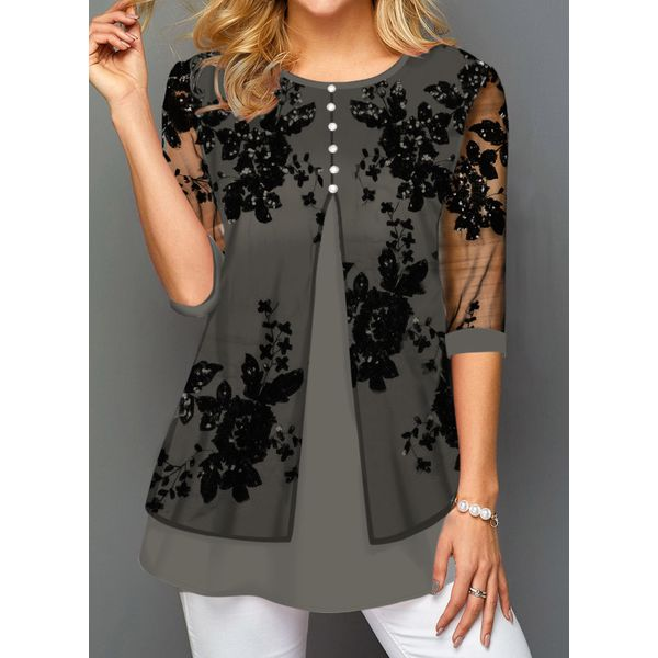 FloryDay / Floral Casual Round Neckline 3/4 Sleeves Blouses (1645533956)