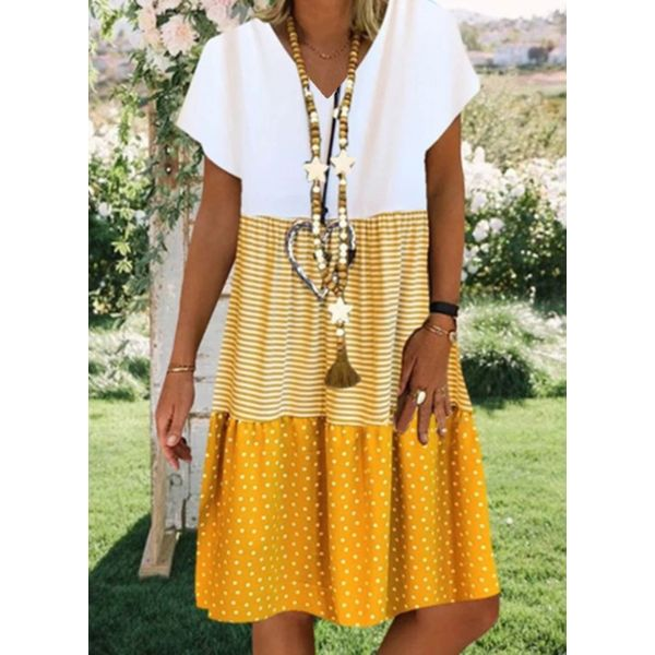 Color Block V-Neckline Short Sleeve Knee-Length A-line Dress (1955547248) - Yellow / 4XL, FloryDay, Apparel & Accessories, Clothing, Dresses  - buy with discount