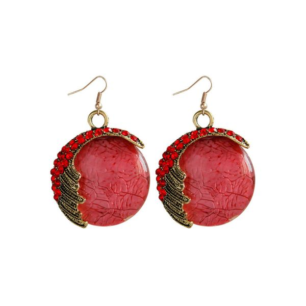 Elegant Round Crystal Dangle Earrings (1855609811) - Red, FloryDay, Apparel & Accessories, Jewelry  - buy with discount