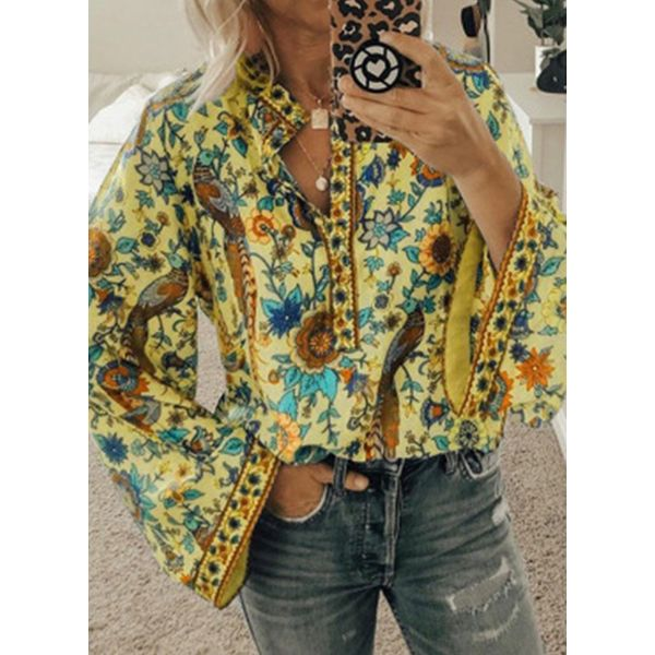 Floral Casual V-Neckline Long Sleeve Blouses (1645471658, Apricot;blue;orange;rose;yellow