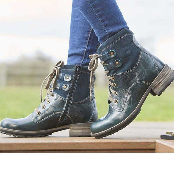 Women's Zipper Lace-up High Top Low Heel Boots (1625466111, Blue