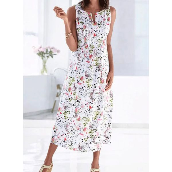 Airycloth coupon: Casual Floral Tunic V-Neckline Shift Dress (1955601878)