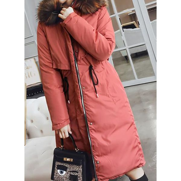 Long Sleeve High Neckline Pockets Coats (1715463721, Black;gray;white;coffee;watermelon