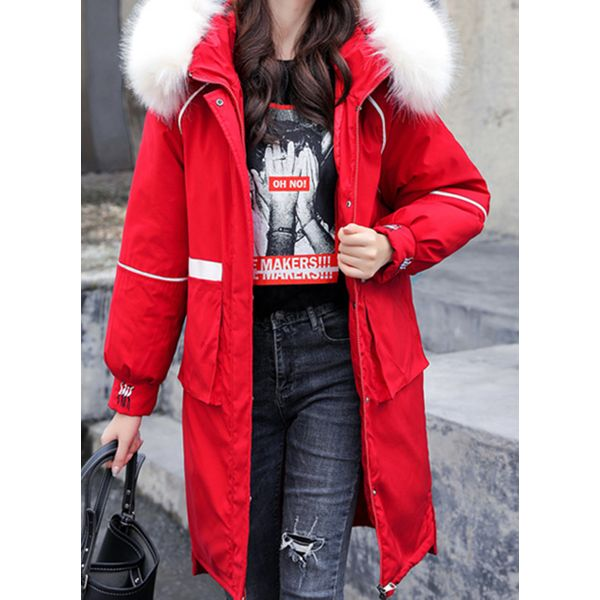 Green Monday Long Sleeve Hooded Pockets Parkas Coats (1715511085, Off-white;black;blue;red;yellow