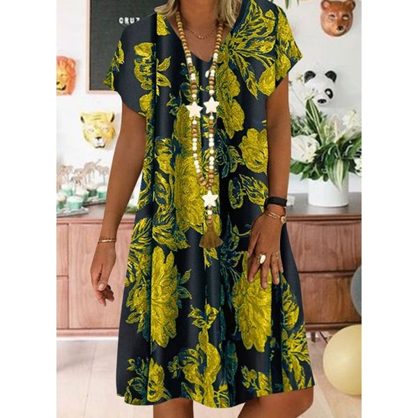 Airycloth coupon: Casual Floral Tunic V-Neckline A-line Dress (1955584896)