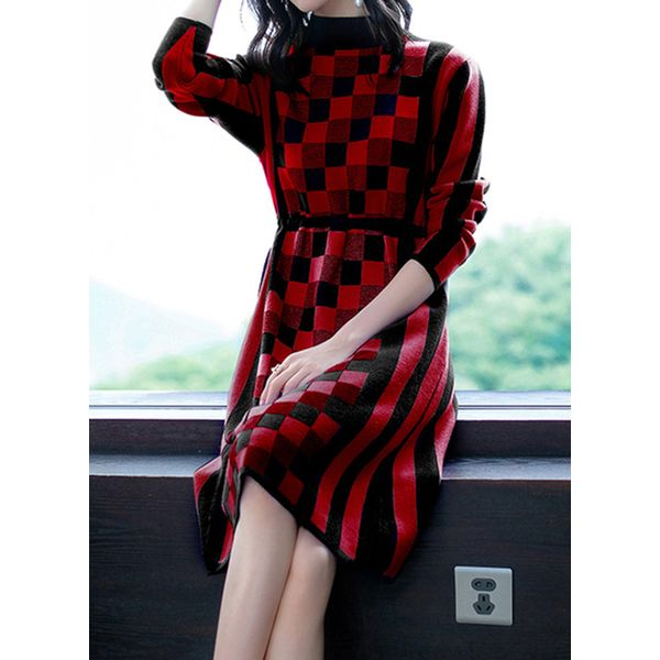 Color Block High Neckline 3/4 Sleeves Knee-Length X-line Dress (1955454672, Red;yellow;coffee