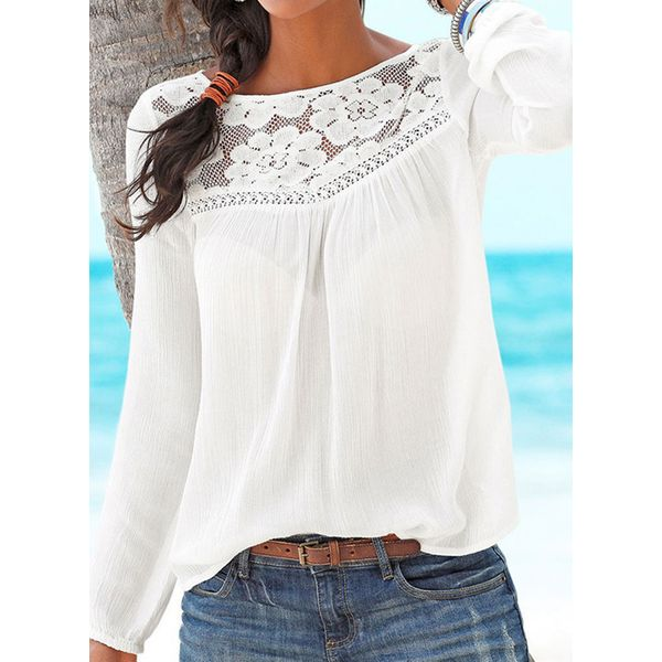 Solid Casual Round Neckline Long Sleeve Blouses (1645381446, Black;blue;white