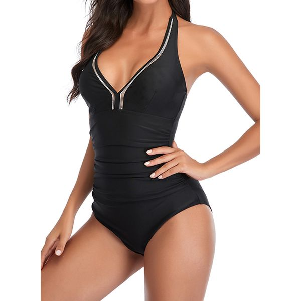 Polyester Halter Color Block One-piece Swimwear (30015736384), FloryDay, Black, Red, Yellow, Burgundy, Rose, Apparel & Accessories, Clothing, Swimwear  - buy with discount