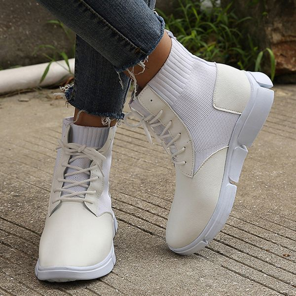 Women's Lace-up Ankle Boots Flat Heel Sneakers (1625470556, Black;white