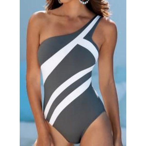 Airycloth coupon: Polyester Oblique Neckline Color Block One-piece Swimwear (30015541285)
