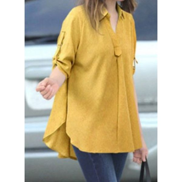 Solid Casual Collar Half Sleeve Blouses (1645466185, Blue;gray;yellow