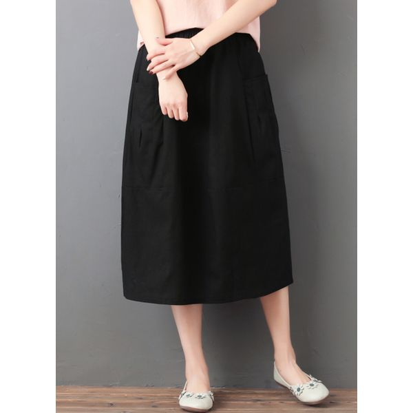 Solid Mid-Calf Casual Skirts (1725379537, Black;red;coffee