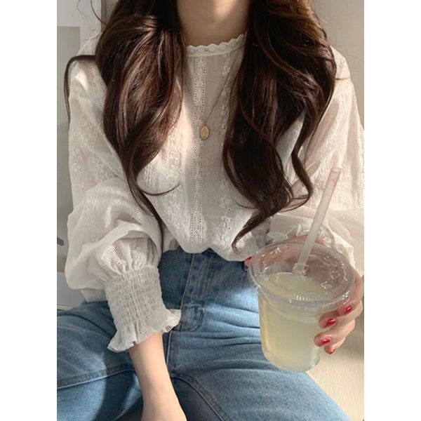 Solid Casual Round Neckline Long Sleeve Blouses (1645401796, White