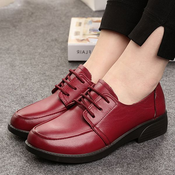 Lace-up Closed Toe Low Heel Shoes (1625379940, Black;red;yellow