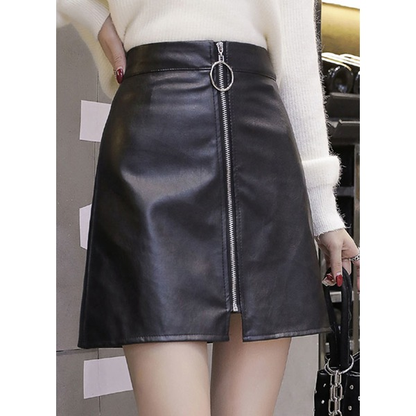 Solid Mini Casual Zipper Skirts (1725315928), Black