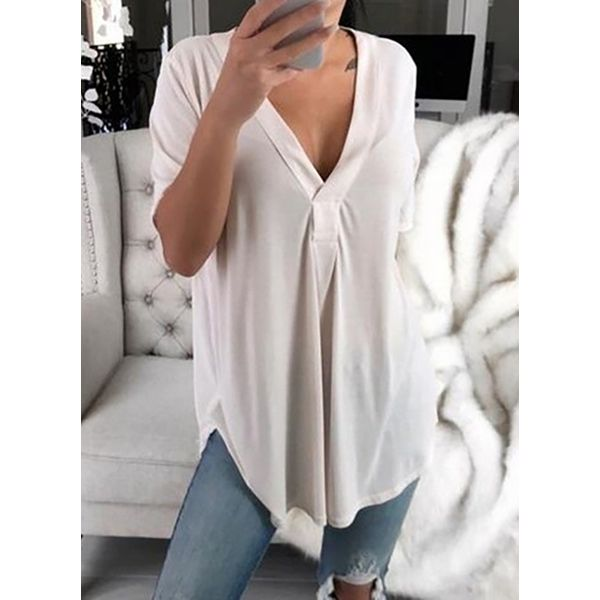 Plus Size Solid Casual V-Neckline Half Sleeve Blouses (1645402901, White;black;blue;purple;rose