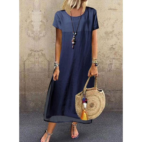 Airycloth coupon: Casual Color Block Tunic Round Neckline Shift Dress (1955595786)