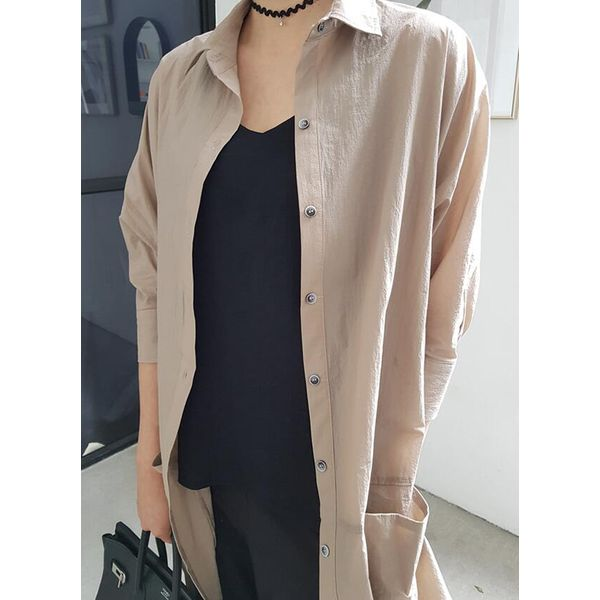 Solid Casual Collar 3/4 Sleeves Blouses (1645401789, Khaki