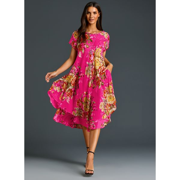 FloryDay / Chinese Casual Floral Ruffles Round Neckline A-line Dress (01955404246)