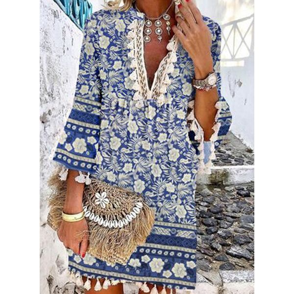 Floral Tunic V-Neckline Above Knee Shift Dress (1955797957) - Blue / XL, FloryDay, Apparel & Accessories, Clothing, Dresses  - buy with discount