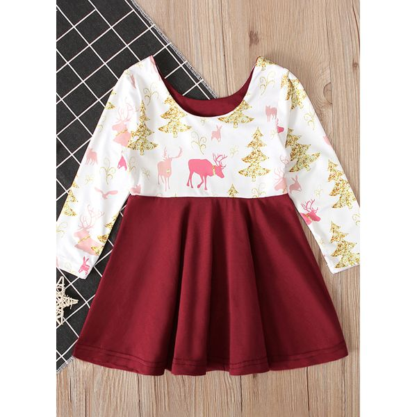 Girls' Cute Animal Daily Long Sleeve Dresses (30135458981, Green;red