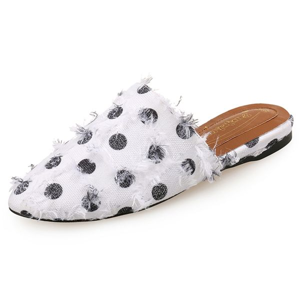 Women's Flats Canvas Flat Heel Slippers (1625450477, Black;white;gray