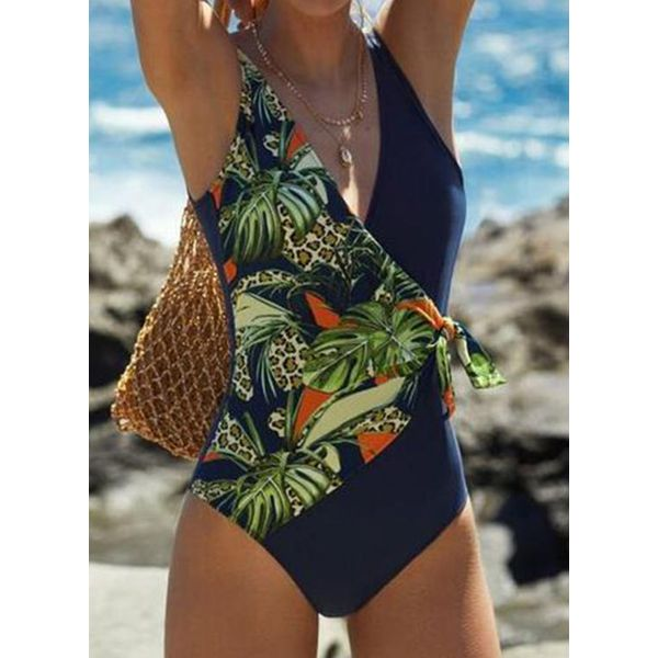 Polyester Floral One-piece Swimwear (30015587558, Black;dark blue