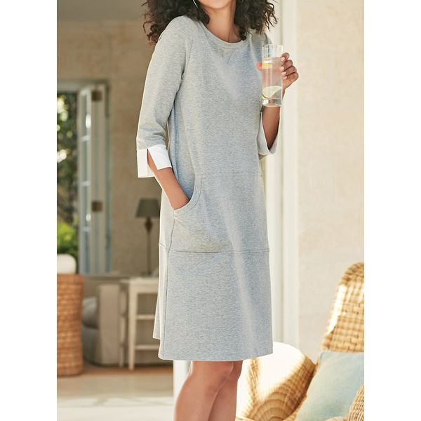 Color Block Buttons 3/4 Sleeves Above Knee Shift Dress (1955400103, Gray