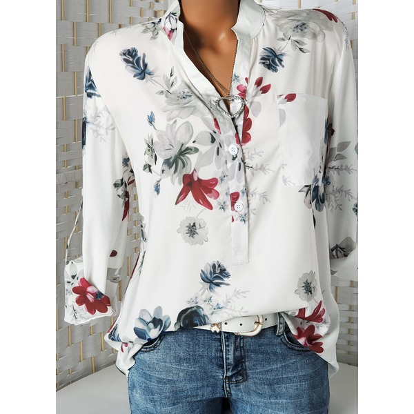 FloryDay / Floral Casual V-Neckline Long Sleeve Blouses (01645326020)