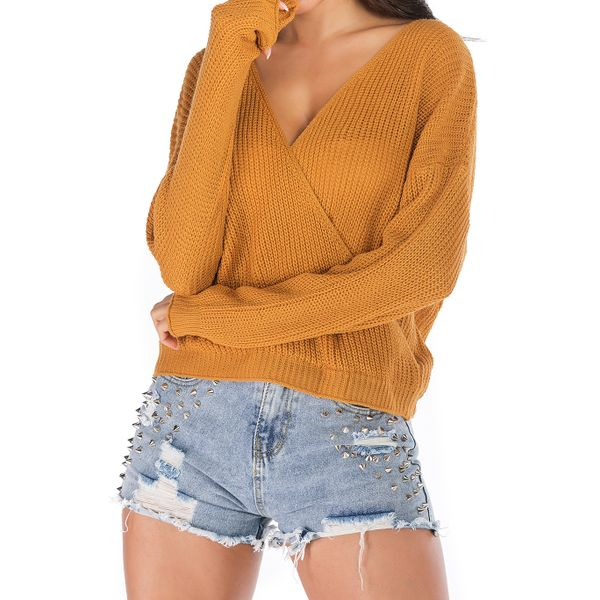 V-Neckline Solid Loose Short Shift Sweaters (1675442425, Yellow;burgundy